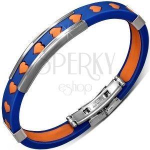 Bransoletka z gumy - niebieska, pomarańczowe serduszka i metalowe ozdoby obraz