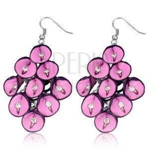 Kolczyki FIMO - różowe anturie z cyrkoniami w gronie obraz