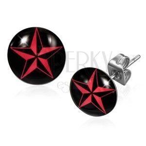 Kolczyki ze stali - czerwona gwiazda NINJA obraz
