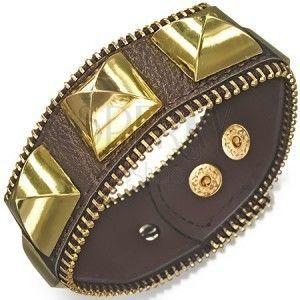 Masywna skórzana bransoletka - brązowa ze złotymi piramidami, suwak obraz