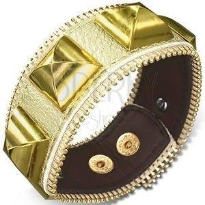 Skórzana bransoletka - złota ze złotymi ćwiekami, suwak obraz