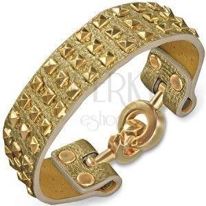 Bransoletka ze skóry - złota ze złotymi ćwiekami i zapięciem na kółka obraz