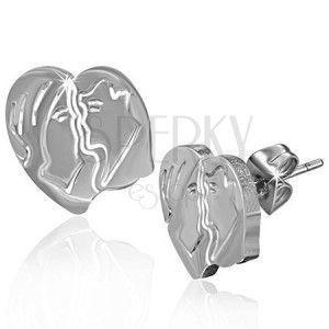 Kolczyki ze stali - zakochana para w sercu, wkręty obraz