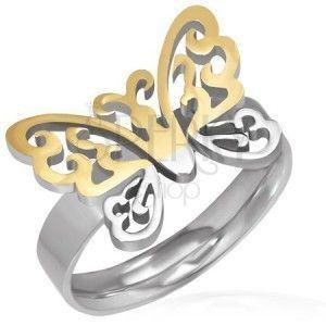 Stalowy pierścionek - wycięty złoto-srebrny motyl obraz