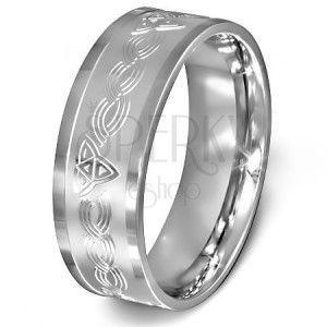 Pierścionek ze stali chirurgicznej - celtycki wzór na matowym srebrnym tle obraz