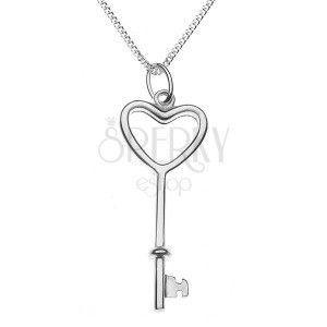 Błyszczący naszyjnik - sercowy klucz na łańcuszku, srebro 925 obraz