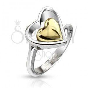 Pierścionek ze stali chirurgicznej - kontur serca ze złotym sercem w środku obraz