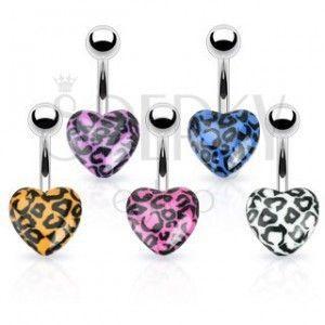 Piercing do pępka ze stali - kolorowe serce ze wzorem leopard obraz