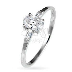 Srebrny pierścionek zaręczynowy 925 - owalna cyrkonia i dwie mniejsze po bokach obraz