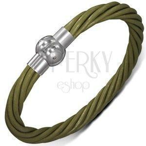 Skórzana bransoletka - zielone skręcone sznurki, zapinanie na magnes obraz