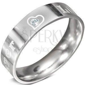 Stalowy pierścionek - napis FOREVER LOVE z cyrkonią, 6 mm obraz