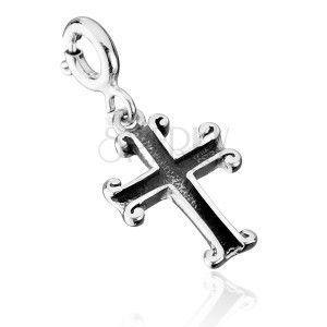 Patynowana zawieszka ze srebra 925 - krzyż obraz