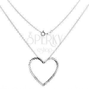 Srebrny naszyjnik 925 - łańcuszek z pofalowanym konturem serca obraz