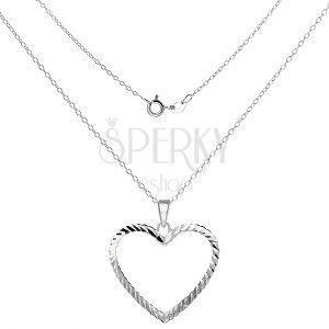 Naszyjnik srebro 925 - lśniący łańcuszek z konturem serca obraz