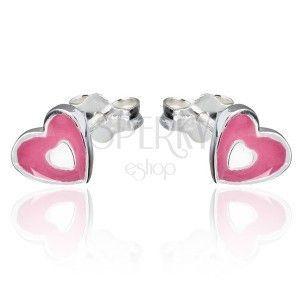 Kolczyki ze srebra 925 - różowo-białe serce, wkręty obraz