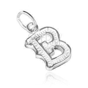 Wisiorek ze srebra 925 - karbowana litera B obraz