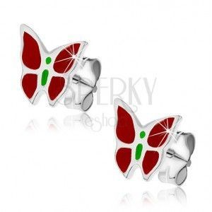 Srebrne kolczyki wkręty 925 - czerwono-zielony motyl obraz