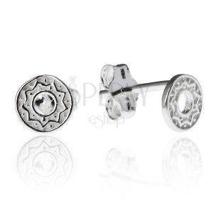 Kolczyki ze srebra 925 - kółeczko z zygzakowatym wzorem obraz