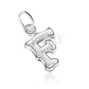 Wisiorek ze srebra 925 - karbowana litera F obraz