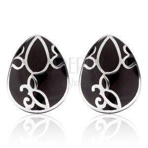 Kolczyki ze stali - czarna łza z ornamentem obraz