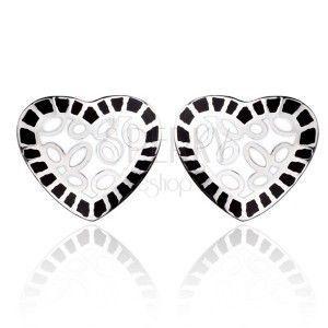 Stalowe kolczyki - białe serce z czarnym brzegiem obraz