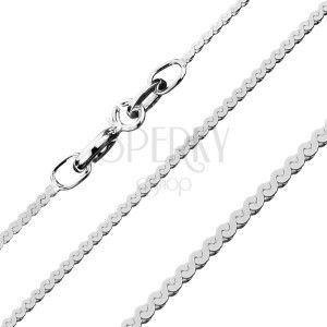 Błyszczący łańcuszek ze srebra 925 - linia ogniw w kształcie S, 1, 2 mm obraz