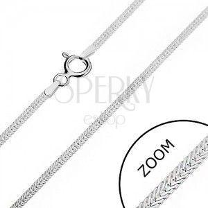 Srebrny łańcuszek 925 - płaskie ukośnie ułożone oczka, 1, 6 mm obraz