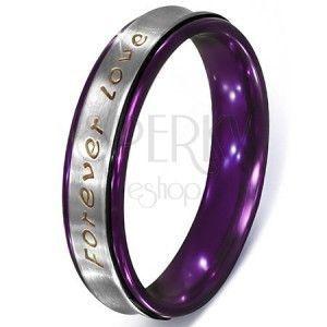 Srebrny pierścionek ze stali - tekst Forever Love, fioletowe krawędzie obraz