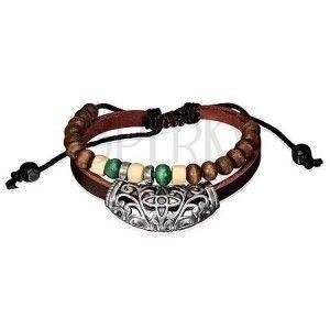 Skórzana bransoletka - ozdoba na pasku, czarny sznurek z koralikami obraz