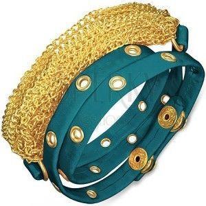 Bransoletka ze skóry - nabijany niebieski pas i złote łańcuszki obraz