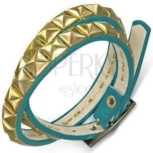 Skóropodobna podwójna bransoletka - niebieski pasek ze złotymi piramidkami obraz