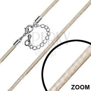 Naszyjnik sznurkowy z nylonu w kolorze beżowym, karabińczyk obraz