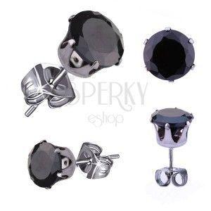 Kolczyki ze stali chirurgicznej - wkręty z czarną cyrkonią obraz