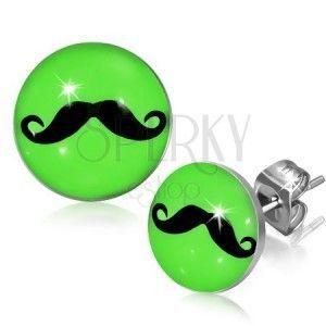 Neonowo zielone okrągłe kolczyki ze stali z wąsami obraz