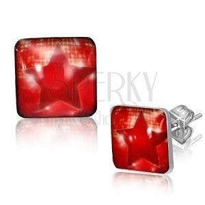 Stalowe kwadratowe kolczyki - czerwona gwiazda obraz