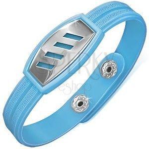 Jasnoniebieska gumowa bransoletka - prążki na wstawce i klucz grecki obraz