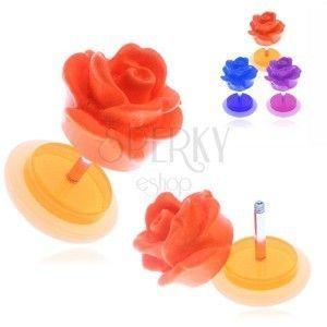 Fałszywy akrylowy piercing do ucha - matowa kolorowa róża obraz