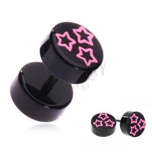 Fake piercing do ucha z akrylu - różowe gwiazdy na czarnym kółku obraz