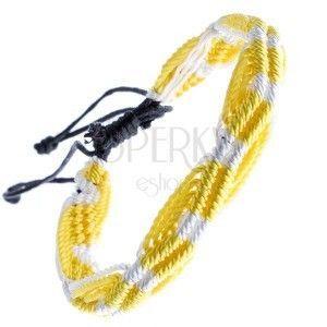 Kolorowa pleciona bransoletka - żółto-białe fale ze sznurków obraz