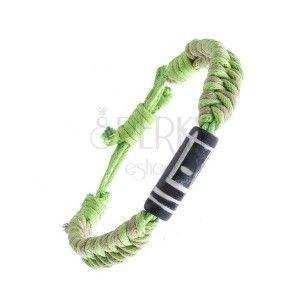 Pleciona bransoletka ze sznurków - beżowo-zielona, rzeźbiony walec obraz