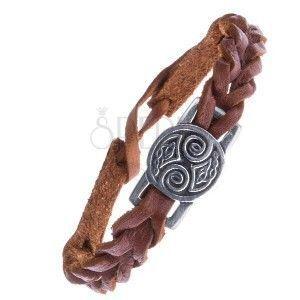 Brązowa skórzana bransoletka z węzłami celtyckimi na lśniącej wstawce obraz