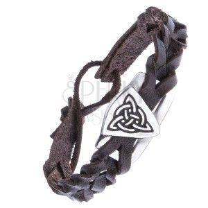 Wąska bransoletka ze skóry - pleciona, ciemnobrązowa, węzeł celtycki obraz