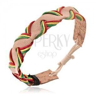 Beżowa skórzana bransoletka na rękę - trzykolorowe przewlekane sznurki obraz