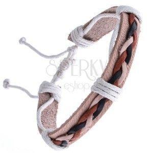 Skórzana bransoletka beżowa – trzy splecione sznurki obraz