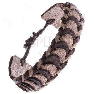 Skórzana bransoletka – brązowe i beżowe przekładane pasy obraz