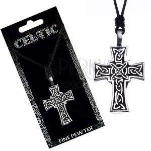 Naszyjnik ze sznurkiem – czarny, krzyż celtycki obraz