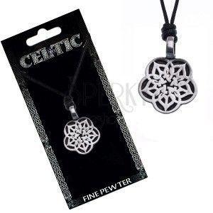 Naszyjnik ze sznurkiem – czarny, metalowy wisiorek, kwiat celtycki obraz