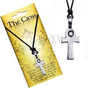 Czarny naszyjnik sznurkowy, zawieszka, krzyż obraz