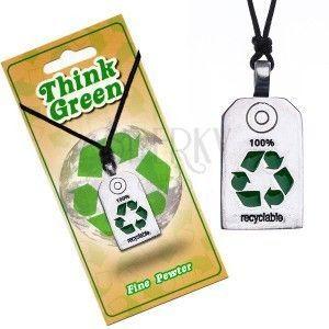 Naszyjnik EKO - lśniąca wstawka z symbolem recyklacji obraz