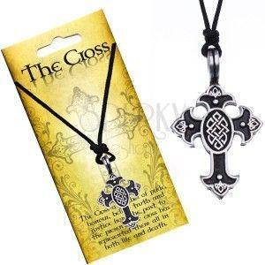 Naszyjnik na sznurku, zawieszka - krzyż z węzłem celtyckim obraz